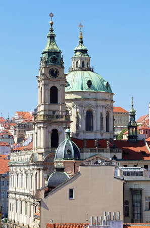 big dome of Ancient church of St. Nicholas in Prague in the Czech Republic in central Europe