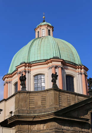 Large dome of the ancient church of St. Nicholas in Prague  the European capital of in the Czech Republic