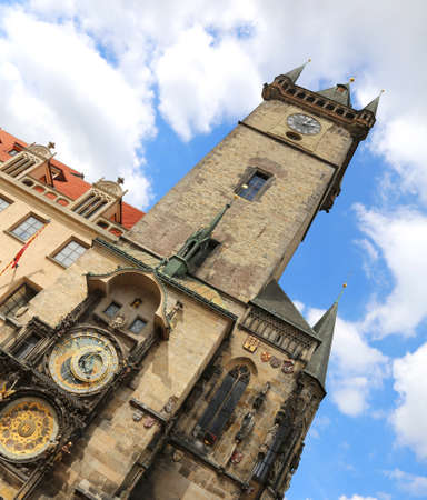 Prague in the Czech Republic Ancient Astronomical Clock The inclination of the monument is intentional to give more impetus to photography Editorial