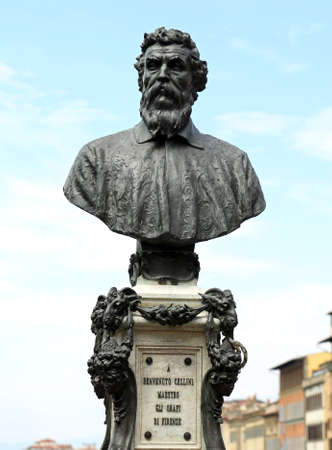 Florence, Italy - August 23, 2015: Bust of the Statue of Benvenuto Cellini a famous italian goldsmith on the Old Bridge. Only editorial Use