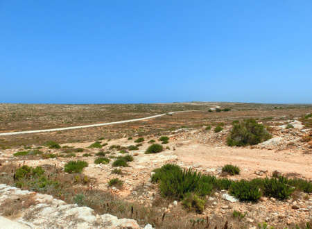 Panorama of an arid and barren island with little vegetation and a white road leading to the sea Imagens