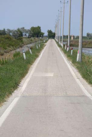 long asphalt road in the plain in summer