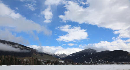 panoramic view of Toblach also called Dobbiaco a small town in Northern Italy