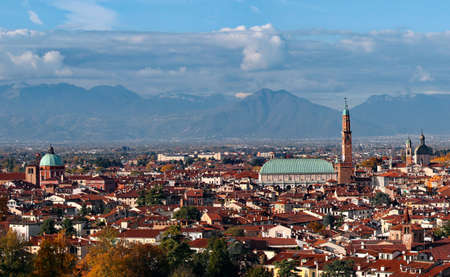 Vicenza Italy panoramic view very wide angle in high resolution with monument called Basilica Palladiana Stock Photo