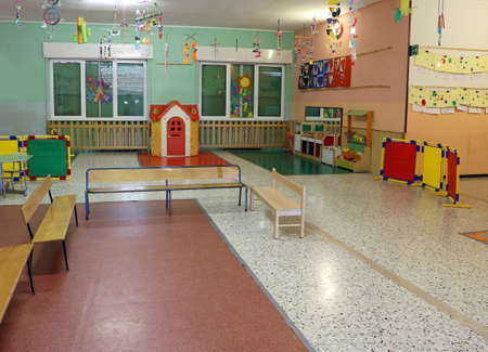 wide hall with toys for children in a kindergarten 스톡 콘텐츠