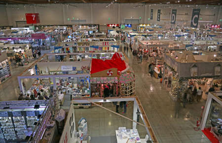 Vicenza, VI, Italy - October 21, 2017: view from the top of many stands of the great exhibition fair called ABILMENTE with many articles and accessories for hobbyists and for work at home