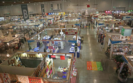 Vicenza, VI, Italy - October 21, 2017: many stands of the great exhibition fair called ABILMENTE with many articles and accessories for hobbyists and for work at home