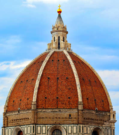 FLORENCE in Italy the big dome of the Cathedral called Cupola del Brunelleschi and the big golden ball on top