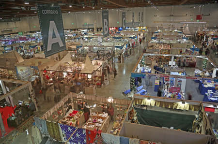 Vicenza, VI, Italy - October 21, 2017: many stands of the great exhibition fair called ABILMENTE with many articles and accessories to work at home and hobbies Editorial