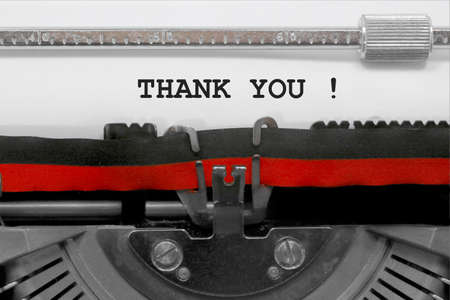 thank you message written by an old typewriter on white sheet