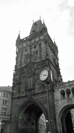 black and white photo of the dust tower in the center of Prague in Czech republic