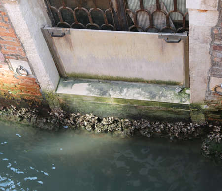 small steel dam to prevent flood in Venice Italy