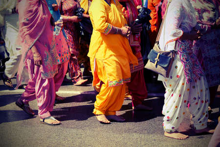 Sikh women with traditional clothes during a street parade