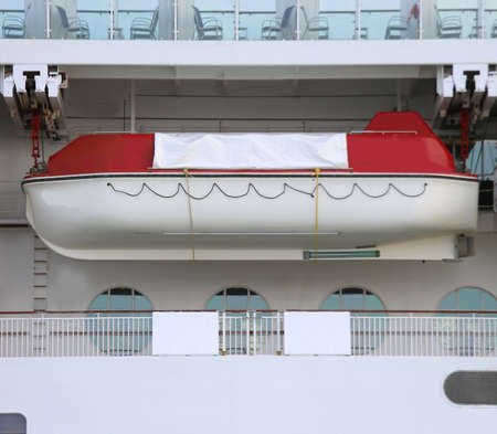 large lifeboat of a cruise ship to save passengers in the event of a shipwreck