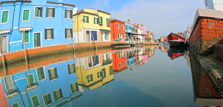 great panorama of Colored Houses of Burano Island near Venice in Italy by fish eye lens Editorial