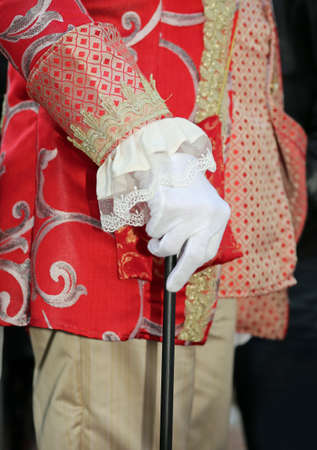 noble hand with white glove and walking stick elegantly dressed
