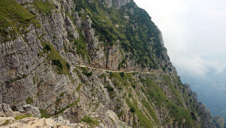 mountain path in Pasubio Mountain called Strada delle Gallerie in Italian Language in Northern Italy