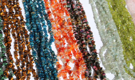 many necklaces with colored stone for sale Stock Photo