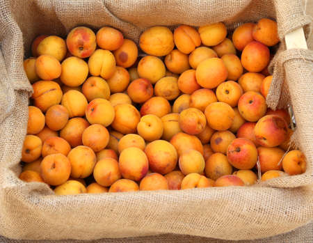 box of apricots for sale at local fruit maket