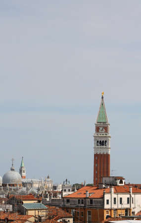panoramic view of Bell tower and Basilica of Saint Mark in Venice Italy