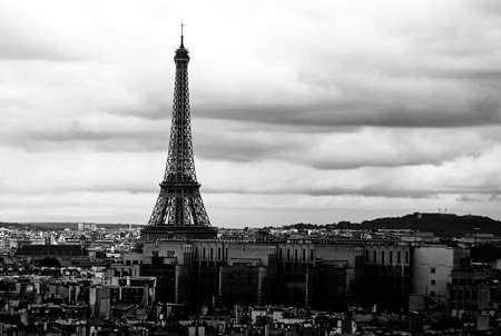 silhouette of eiffel tower in black and white effect in Paris France