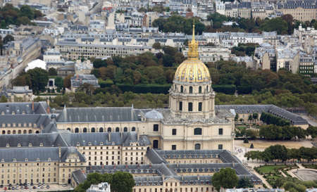 Golden Dome of Monument called Les Invalides in Paris France with tomb of Napoleon Bonaparte