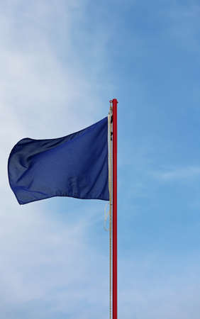 blue flag is symbol of not pollution in this area in vertical mode