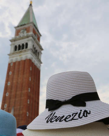 many straw hat with text Venezia for sale in Venice in Italy Stock Photo