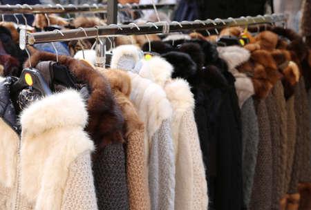 Vintage Fur and clothes for sale at flea market