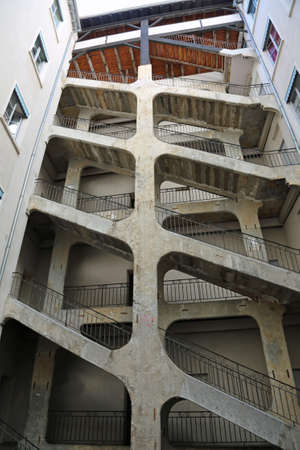 Lyon, France - August 16, 2018: long double stairways called Traboules a typical passageway
