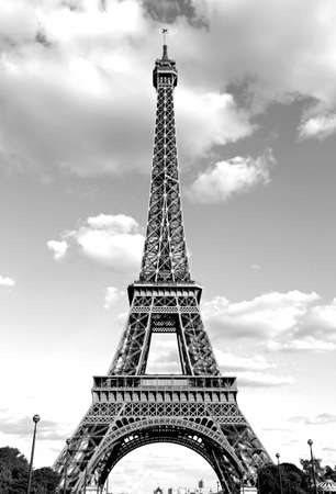Big Eiffel Tower with black and white effect in Paris