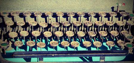 Keyboard of an old typewriter at flea market