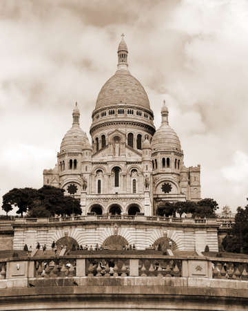 Basilica of Sacre Couer that means Sacred Heart in french language at Montmartre in Paris in France with sepia toned effect