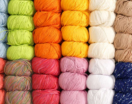 soft wool balls for sale in the shop knitwear items Stock Photo