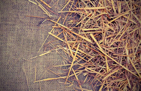 copy space with background of  jute fabric and straw with vintage old effect Stock Photo
