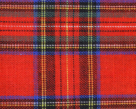 Background of fabric with red and green Tartan-type Scottish