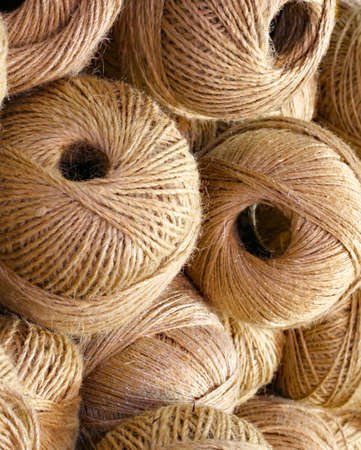 balls of rough and rough twine for sale in the haberdashery shop Archivio Fotografico