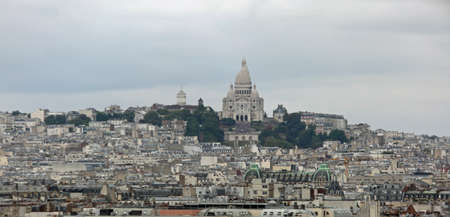 Basilica of Sacred Heart in the Butte Hill in the neighborhood called MontMartre in Northern Paris France Editorial