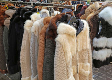 Many Vintage Fur and clothes for sale at flea market