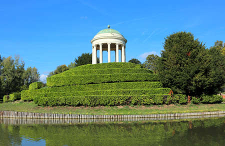 Ancient temple with big dome on the small island in public Park in Vicenza City in Northern Italy Editorial