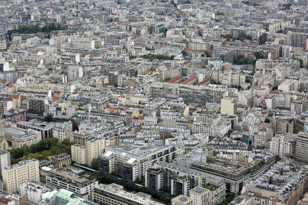 Urban Panorama with houses and palaces from Eiffel Tower in Paris 스톡 콘텐츠