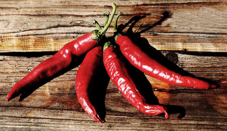 four spicy chillies on a wooden table