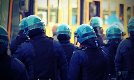 Italian police in riot gear during a big demonstration