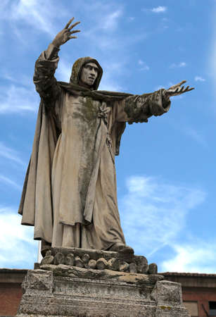 Big statue of Savonarola a dominican friar in Ferrara in Italy.The cause of death is Hanged and burned Stock Photo