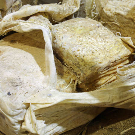 cheese matured in caves exposed on a linen cloth to keep it better