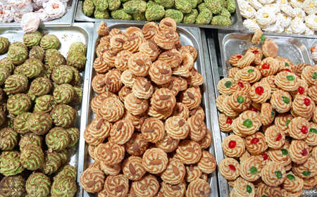many pastries and delicacies with almond paste typical of southern Italy