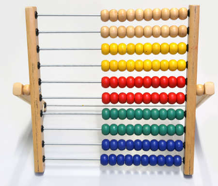 antique wooden abacus for teaching to count to elementary school children
