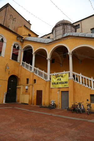 Ferrara, FE, Italy - November 3, 2018:  banner with the italian text which means Truth for Giulio Regeni who is a person killed in Egypt Editöryel