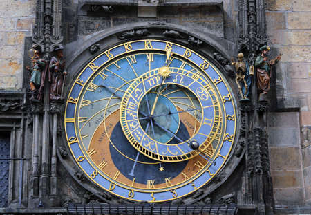 old astronomical clock located in Prague the capital of the Czech Republic
