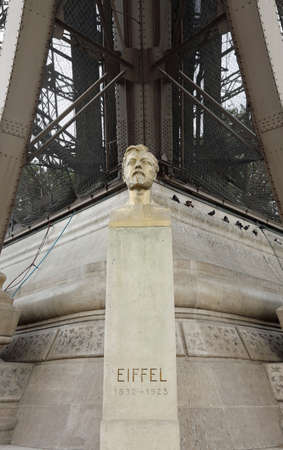 Statue of the engineer Gustave Eiffel, the designer of the very large and famous Eiffel Tower in Paris, France